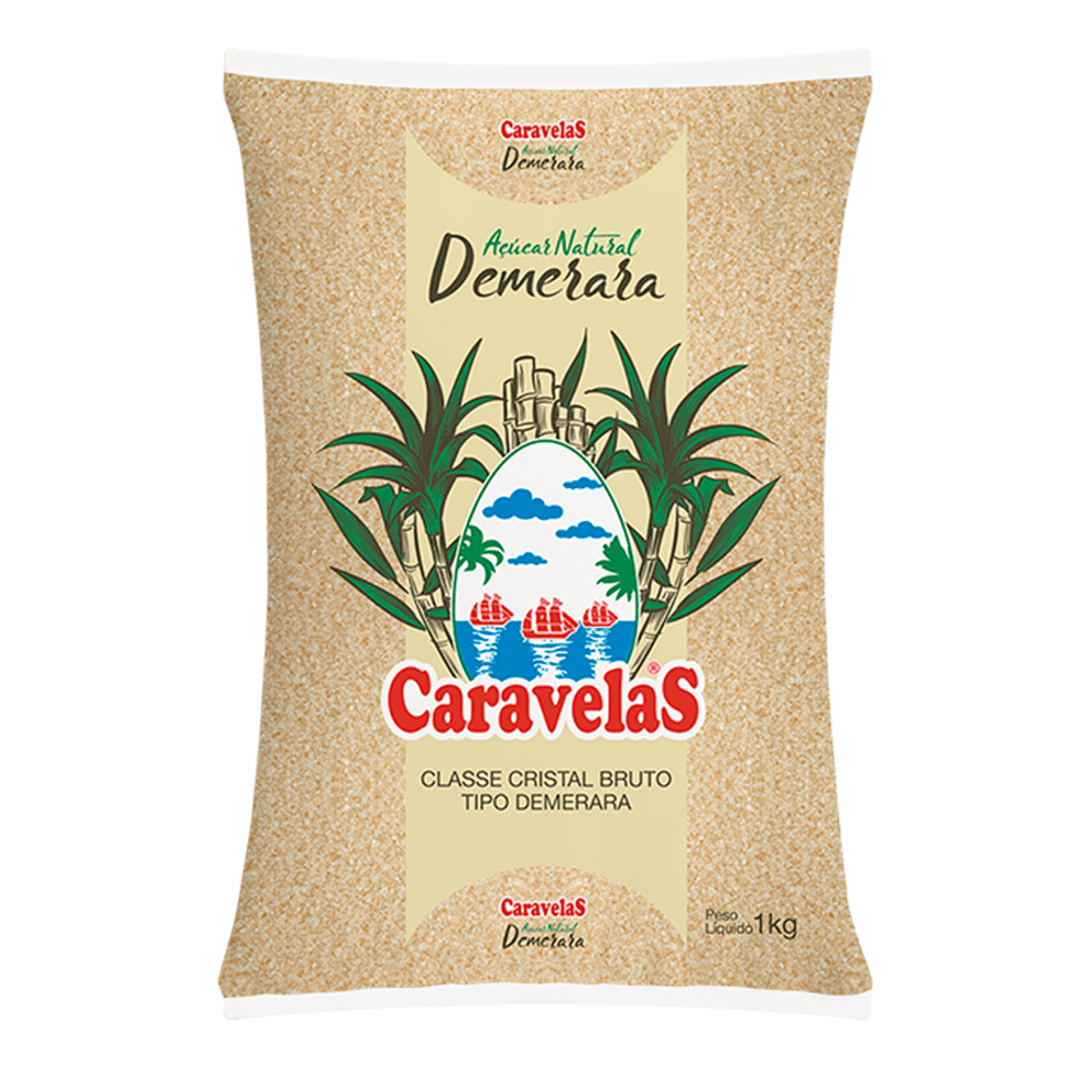 açúcar natural demerara  caravelas 1 kg