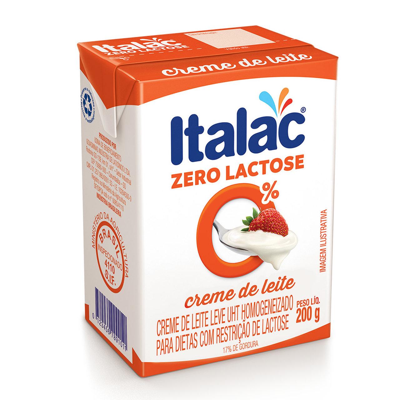 CREME DE LEITE ITALAC 0% LACTOSE 200 G