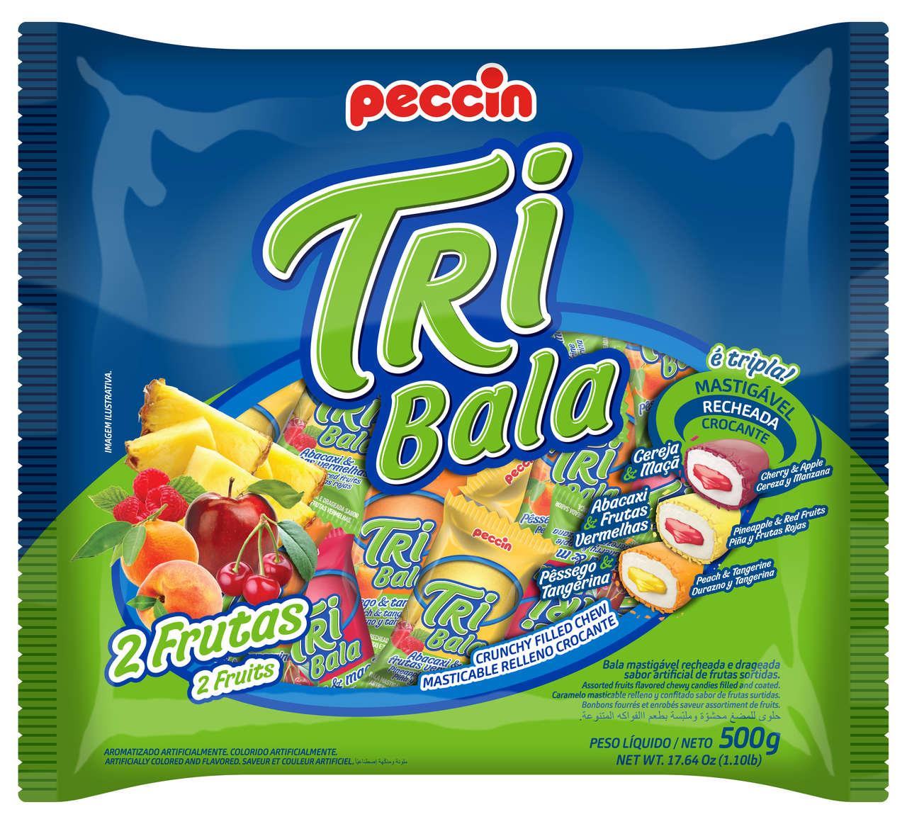 BALA PECCIN TRIBALA RECHEADA 2 FRUTAS 500 G