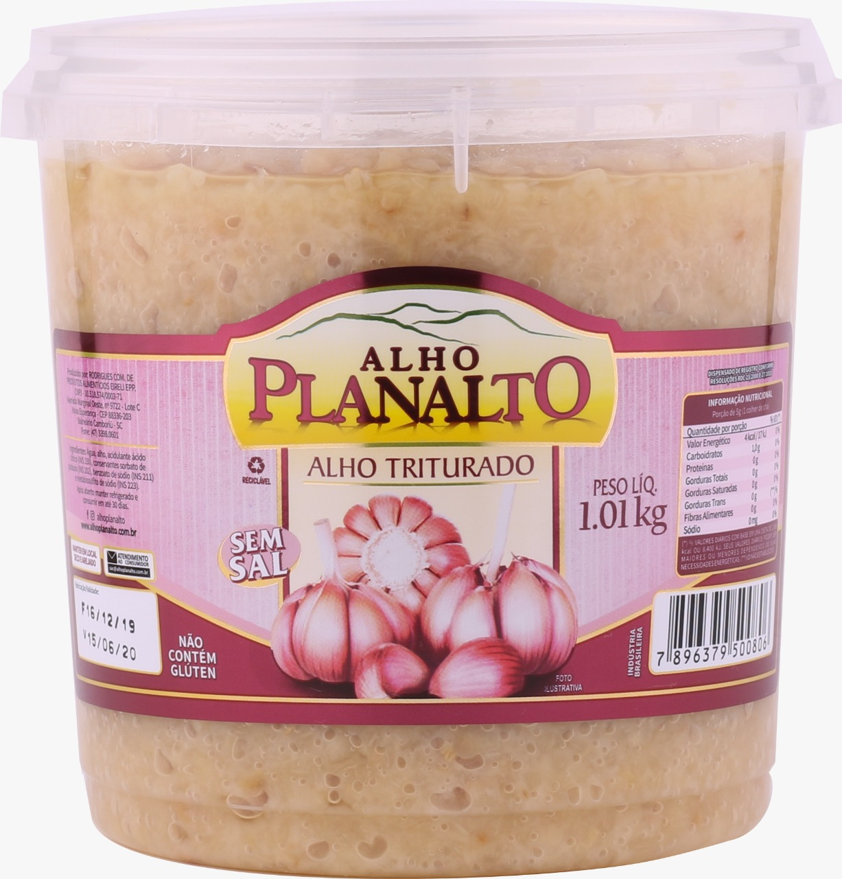 ALHO TRITURADO SEM SAL PLANALTO 1,01KG